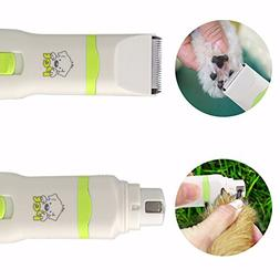2 in 1 Pet Dog Cat Hair Trimmer Paw Nail Grinder Grooming Cl