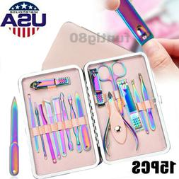 15Pcs Manicure Set Nail Clipper Stainless Steel Grooming Ped