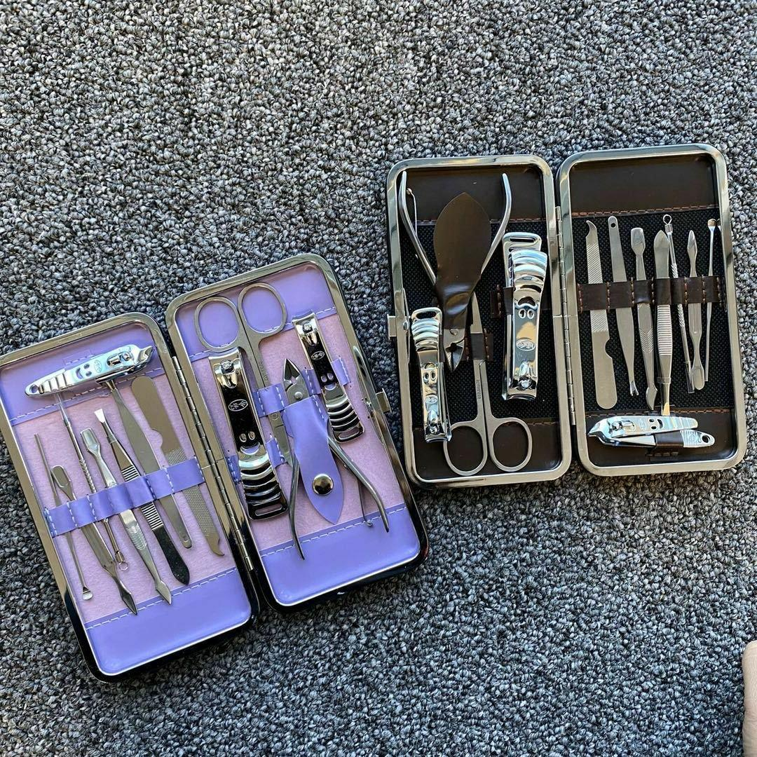 12 Nail Cutter Cuticle Clippers Kit Case