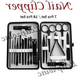 Manicure Set Nail Clippers Cleaner Cuticle Grooming Kit Case